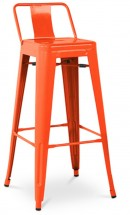 Tabouret métal brillant petit dossier orange Industriel 75