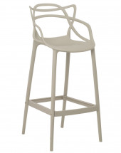 Tabouret moderne avec accoudoirs polypropylène gris taupe Beliano