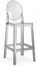 Tabouret polycarbonate gris transparent inspiré Louis Ghost 64