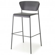 Tabouret technopolymère et métal anthracite Lisa 65 cm - Lot de 2