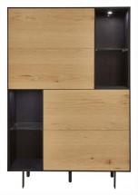 814bb990325b23 Vitrine 2 portes 4 niches bois clair et métal noir Tosa ...