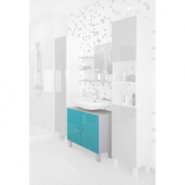 CORAIL Meuble sous lavabo L 60 cm - Bleu lagon brillant - Photo 3