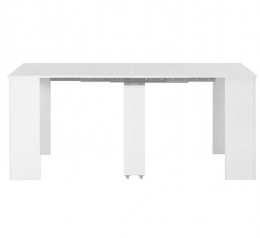 Table à manger rectangulaire extensible blanc brillant Lamio - Photo 3