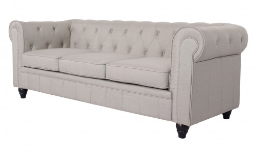 Canapé chesterfield 3 places tissu beige effet lin Itish - Photo 2