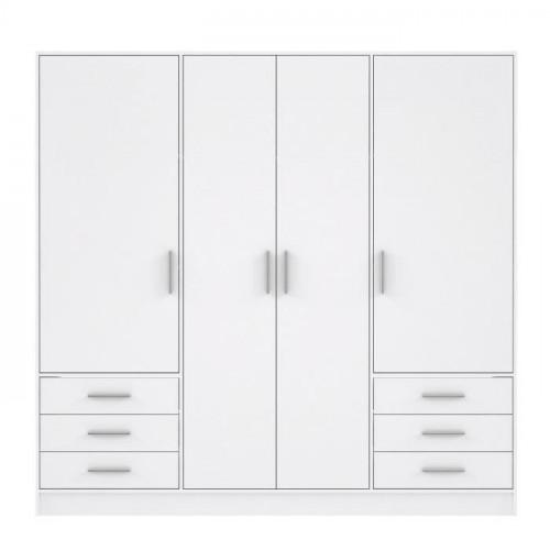 Neuf Shanghai L 63 x l 26 x H 104 Tousmesmeubles Meuble dentr/ée 6 tiroirs 2 Portes Blanc