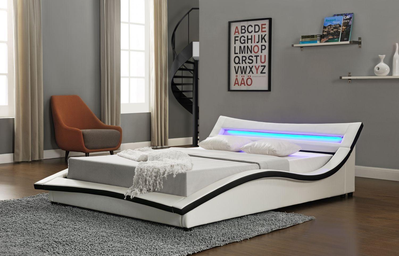 lit design simili blanc 160 vogue matelas m moire 24 cm. Black Bedroom Furniture Sets. Home Design Ideas
