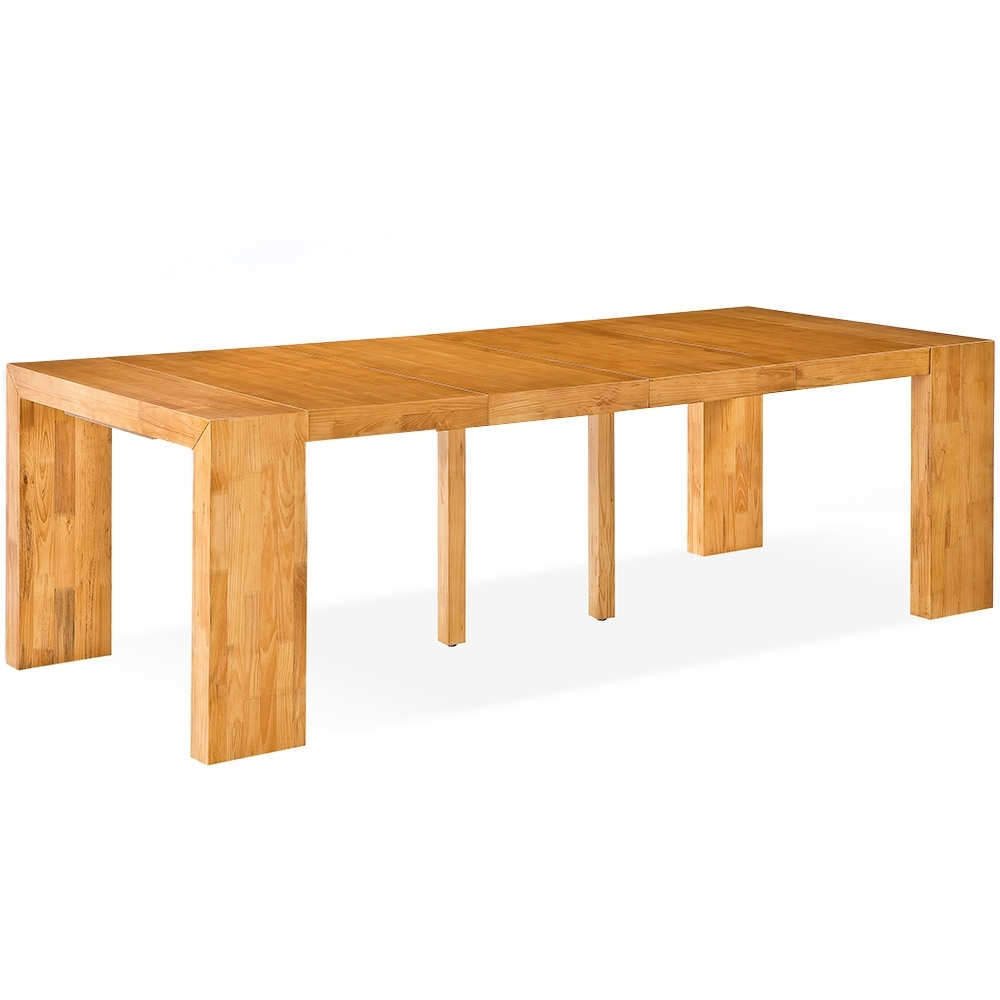 Table Console Extensible En Bois Massif Moody Couleur Ch Ne Clair  ~ Table Console Extensible En Bois Massif