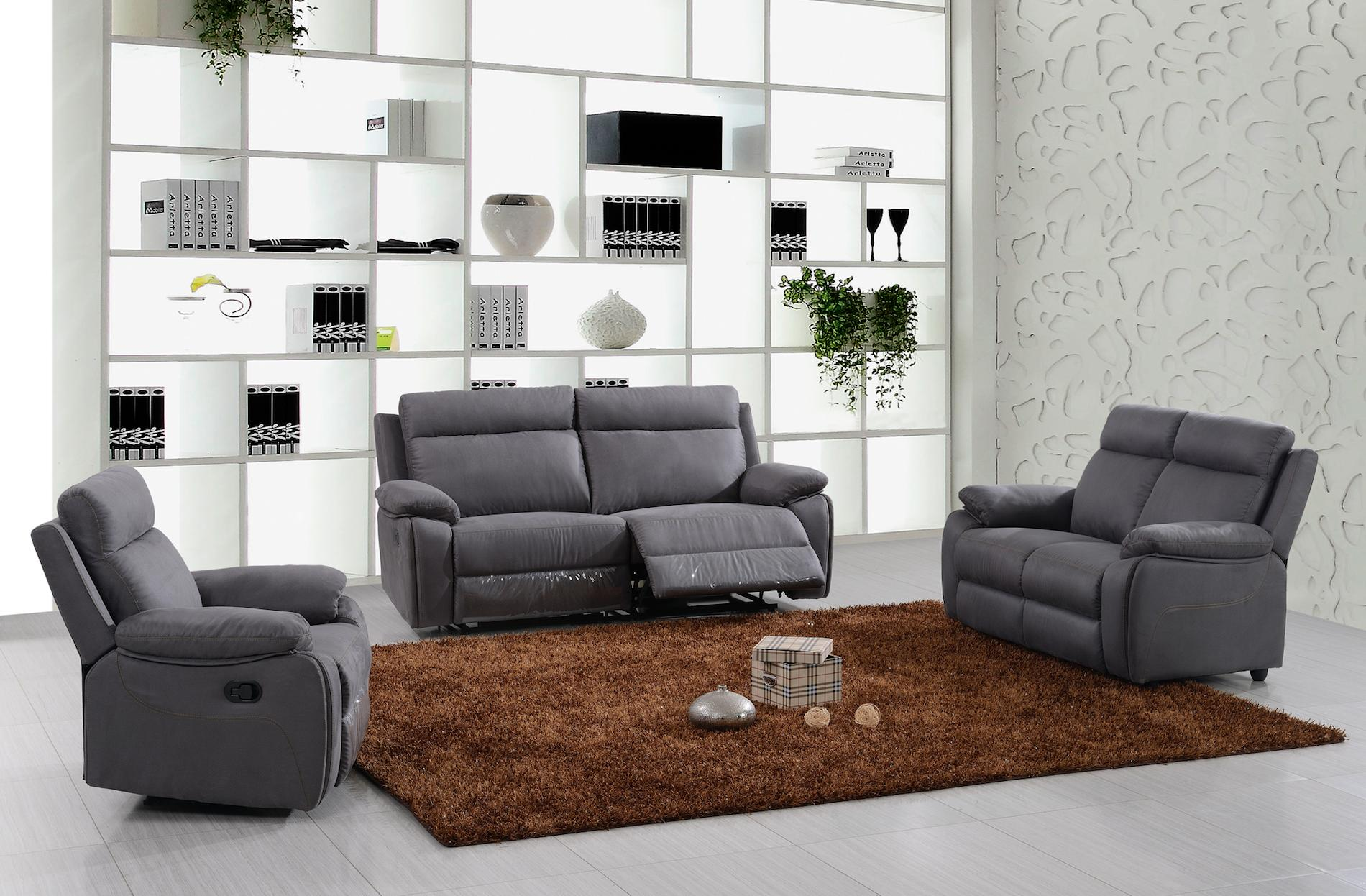 ensemble canap de relaxation 3 places lectrique et 2 places fixe microfibre gris rick. Black Bedroom Furniture Sets. Home Design Ideas
